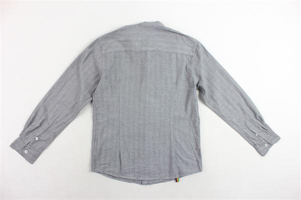 camicia manica lunga collo coreano tinta unita MANUEL RITZ | Camicie | MR0475GRIGIO