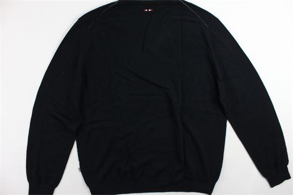 maglione scollo a punta tinta unita con logo NAPAPIJRI | Maglie | N0YGPA041NERO
