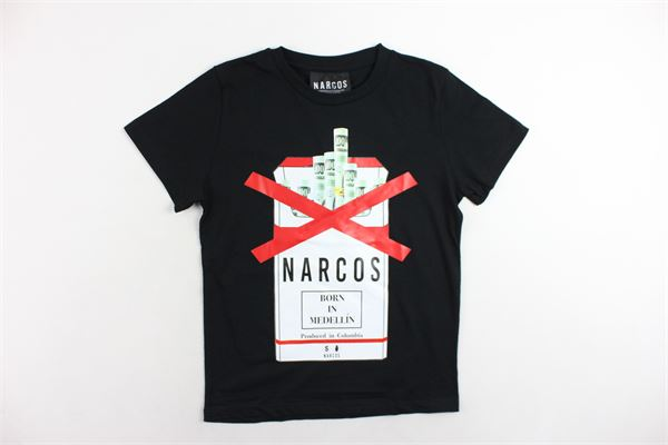 t-shirt mezza manica tinta unita con stampa NARCOS | T-shirts | 20AINA10015Y-10NERO