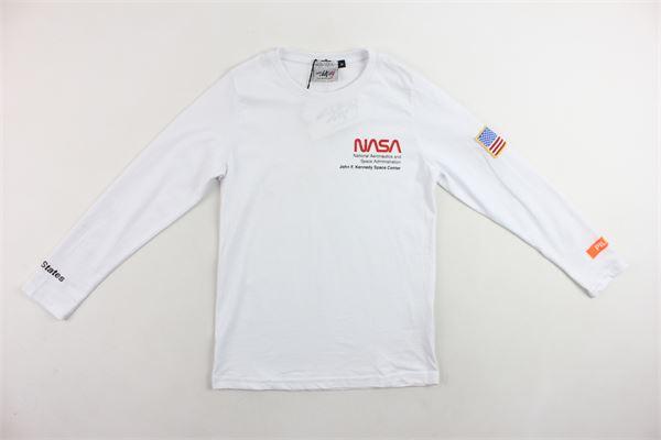 shirt manica lunga tinta unita con stampa NASA | Shirts | NS105BBIANCO