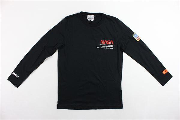 shirt manica lunga tinta unita con stampa NASA | Shirts | NS105BNERO