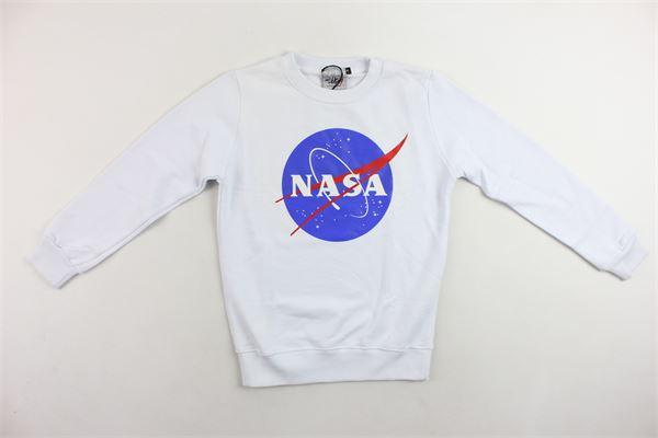 felpa girocollo garzata tinta unita con stampa NASA | Felpe | NS506BBIANCO
