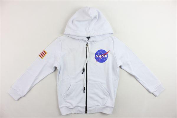 felpa zip e cappuccio garzata tinta unita con stampa NASA | Felpe | NS511BBIANCO