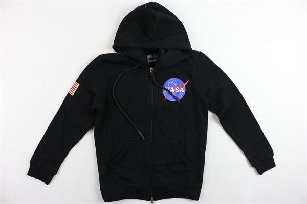 felpa zip e cappuccio garzata tinta unita con stampa NASA   Felpe   NS511BNERO
