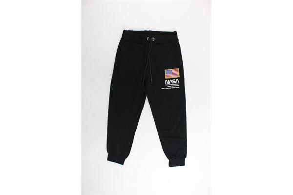 pantalone tuta garzato tinta unita con stampa NASA | Pantaloni | NS901BNERO