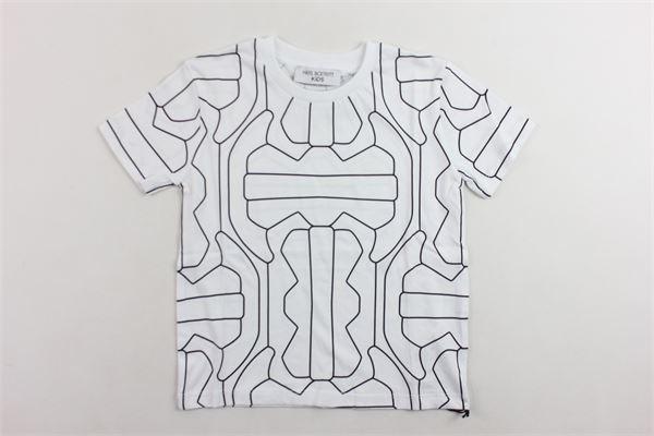 t-shirt mezza manica tinta unita con stampa NEIL BARRETT | T-shirts | 020574BIANCO