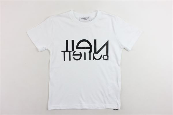 t-shirt mezza manica tinta unita con stampa NEIL BARRETT | T-shirts | 020594BIANCO