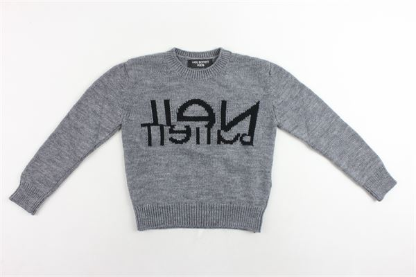 maglione in lana girocollo tinta unita con stampa NEIL BARRETT | Maglie | 020603GRIGIO