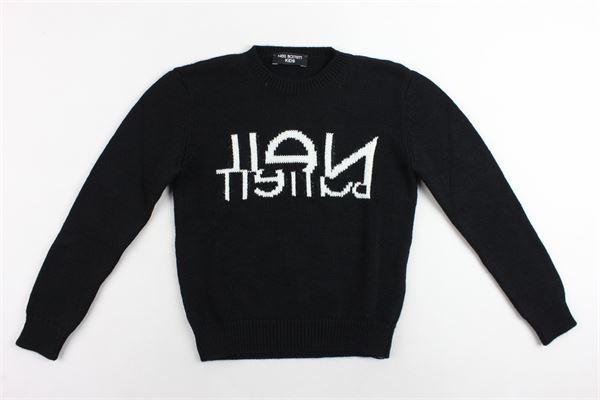 maglione in lana girocollo tinta unita con stampa NEIL BARRETT | Maglie | 020603NERO