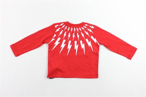 shirt manica lunga tinta unita con stampa NEIL BARRETT | Shirts | 020653ROSSO