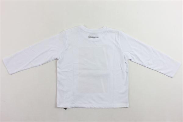 shirt manica lunga tinta unita con stampa NEIL BARRETT | Shirts | 020656BIANCO