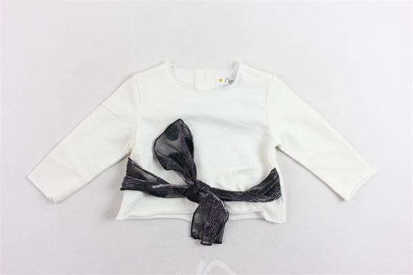 felpa cotone caldo tinta unita con fiocco in vita NINALUNA | Felpe | DRF18BFE01BIANCO