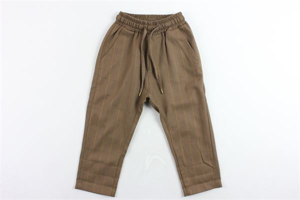 pantalone tasca america elastico in vita tinta unita rigato NUMBERS | Pantaloni | 2004MARRONE