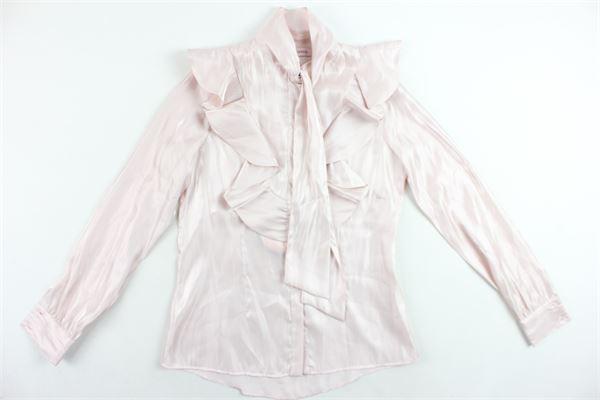 camicia manica lunga tinta unita con rouches e fiocco NUNZIA CORINNA | Camicie | NJ4013290/T5812ROSA