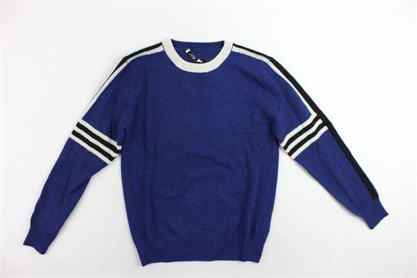 maglione girocollo in lana profili in contrasto PAOLO PECORA | Maglie | PP0930COBALTO