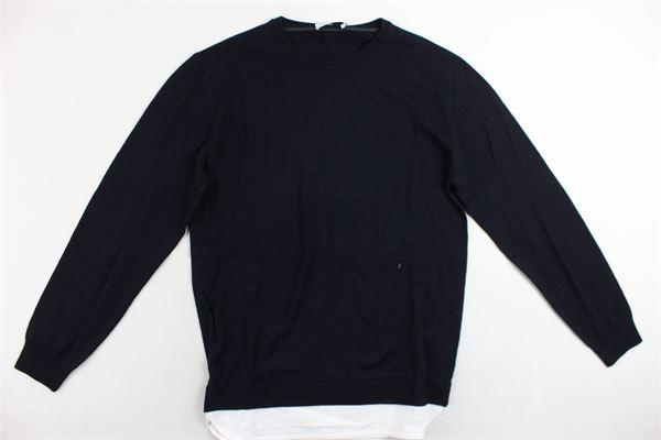 maglione girocollo in lana tinta unita con profili in camicia PAOLO PECORA | Maglie | PP0934BLU
