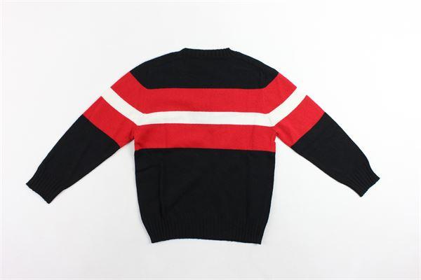 maglione girocollo tinta unita profili in contrasto in lana e cotone PAOLO PECORA | Maglie | PP1400NERO
