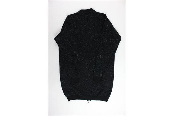 cardigan in lana lungo tinta unita con zip PAOLO PECORA | Maglie | PP1428NERO