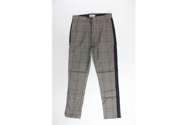 pantalone tasca america microfantasia e profili in contrasto PAOLO PECORA | Pantaloni | PP1479BEIGE