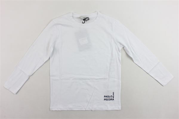 shirt manica lunga tinta unita con stampa PAOLO PECORA | Shirts | PP2091BIANCO