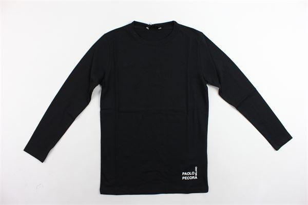 shirt manica lunga tinta unita con stampa PAOLO PECORA | Shirts | PP2091NERO