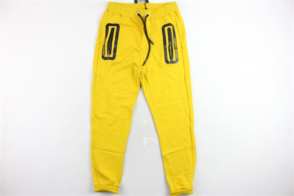 pantalone tuta garzato tinta unita tasca in zip PARENTAL ADVISORY | Pantaloni | AD940UGIALLO