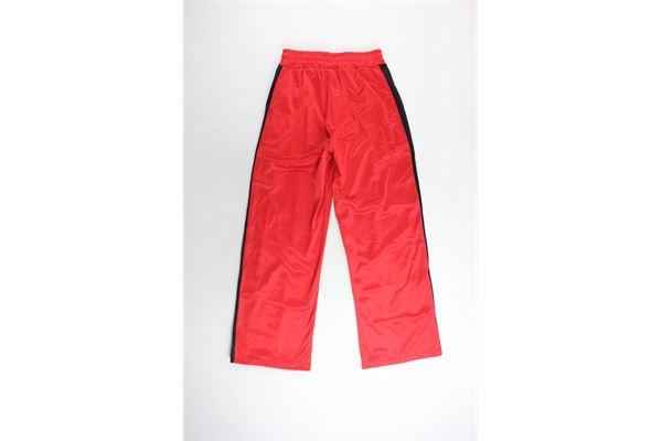 pantalone tuta triacetato a palazzo tinta unita bande in contrasto PARENTAL ADVISORY | Pantaloni | AD946DROSSO