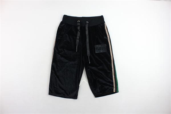 pantalone tuta a palazzo corto in ciniglia profili in lurex PARENTAL ADVISORY | Pantaloni | AD967DNERO