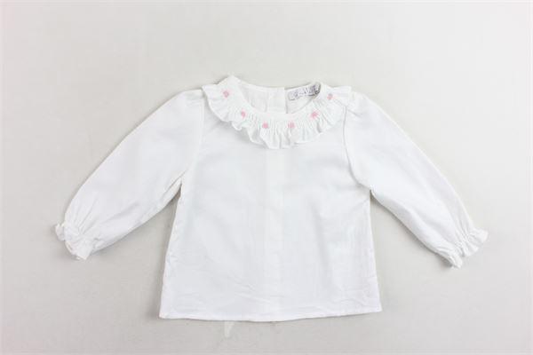 camicia manica lunga tinta unita collo in rouches con ricami PATACHOU | Camicie | PAP/BL2933037BIANCO