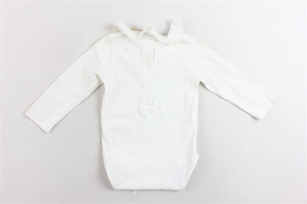 body manic alunga cotone caldo tinta unita collo in rouches con ricami PATACHOU | Body | PAP/BOD2533008BIANCO