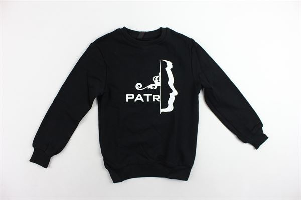 felpa girocollo garzata tinta unita con stampa PATRIOT | Jeans | FB36NERO