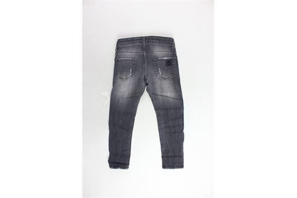 jeans 5 tasche tinta unita girovita regolabile con strappi PATRIOT | Jeans | PB700NERO
