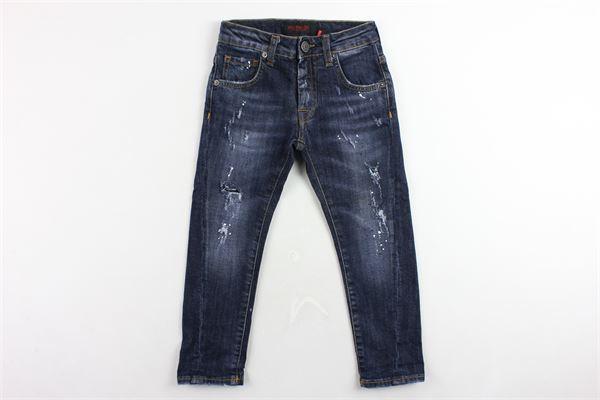 jeans 5 tasche tinta unita con strappi PATRIOT | Jeans | PB906BLU