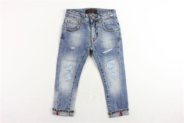 jeans 5 tasche tinta unita con finiti strappi PATRIOT | Jeans | PB923AZZURRO