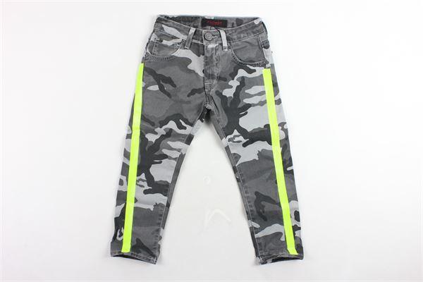 jeans 5 tasche fantasia mimetica con profili fluo PATRIOT | Jeans | PB971GRIGIO