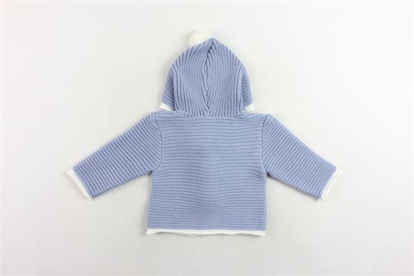 cardigan in lana con cappuccio e pon pon in contrasto PAZ RODRIGUEZ | Maglie | 012-21022CELESTE