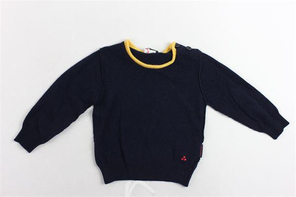 maglione girocollo tinta unita con toppe in contrasto e bottoni alla spalla PEUTEREY | Maglie | PTB0846BLU