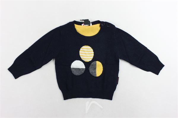 maglione girocollo tinta unita con stampa e bottoni alla spalla PEUTEREY | Maglie | PTB0847BLU