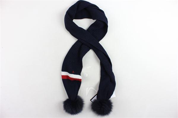sciarpa in lana tinta unita profili colorato con pon pon PEUTEREY | Sciarpe | PTG0976BLU