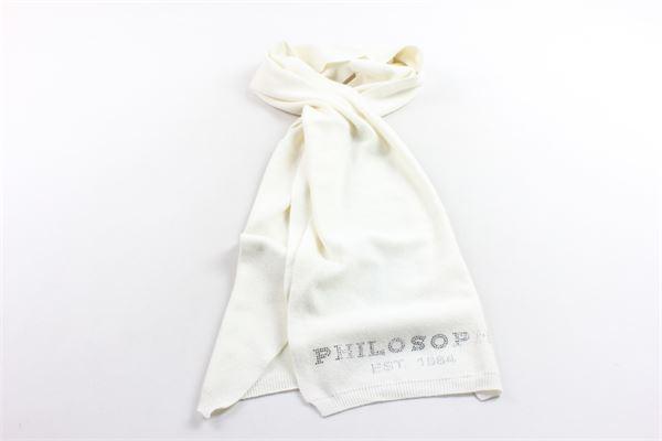sciarpa in lana tinta unita con stampa brillantini PHILOSOPHY | Sciarpe | PJSC01BIANCO
