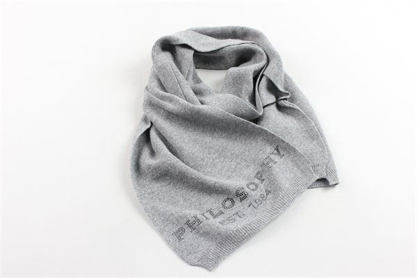 sciarpa in lana tinta unita con stampa brillantini PHILOSOPHY | Sciarpe | PJSC01GRIGIO