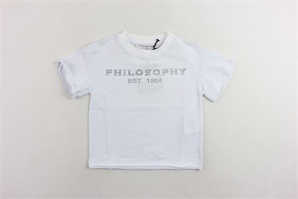 t-shirt mezza manica tinta unita con stampa modello oversize PHILOSOPHY | T-shirts | PJTS13BIANCO