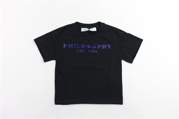 t-shirt mezza manica tinta unita con stampa modello oversize PHILOSOPHY | T-shirts | PJTS13NERO