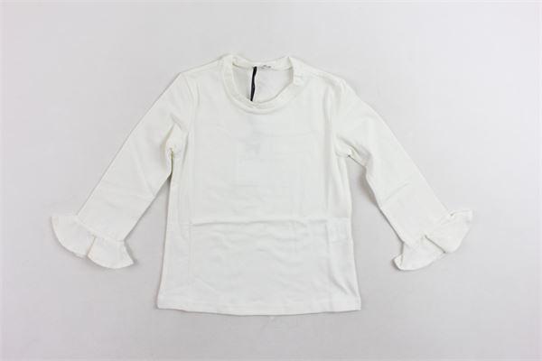 shirt manica lunga in cotone tinta unita rouches alle maniche PICCOLA LUDO   Shirts   BS4WB045TES0335BIANCO