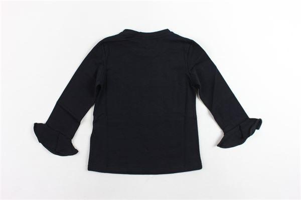 shirt manica lunga in cotone tinta unita rouches alle maniche PICCOLA LUDO   Shirts   BS4WB045TES0335NERO