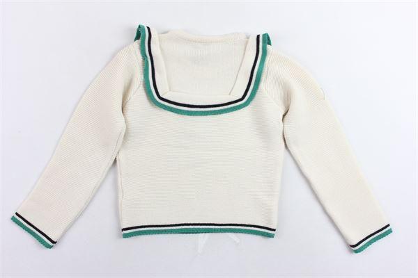 maglione tinta unita manica lunga profili in contrasto PICCOLA LUDO   Maglie   ELSA002VERDE