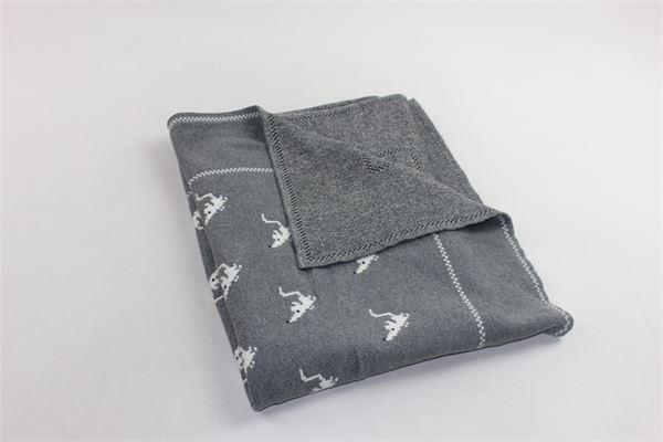 coperta in lana e cotone microfantasia PILI CARRERA | Coperte | 8206901GRIGIO