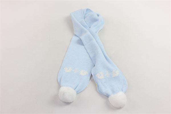 sciarpa  in lana tinta unita con stampa e pon pon in contrasto PILI CARRERA | Sciarpe | 82572000CELESTE