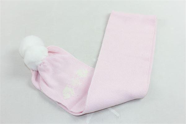 sciarpa  in lana tinta unita con stampa e pon pon in contrasto PILI CARRERA | Sciarpe | 8257200ROSA