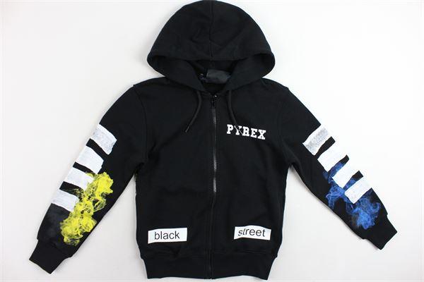 felpa zip e cappuccio garzata tinta unita con stampa PYREX | Felpe | 019976NERO